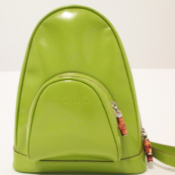d139851dea Gucci Handbags - Gucci Green Patent Leather Backpack With Bamboo Pe